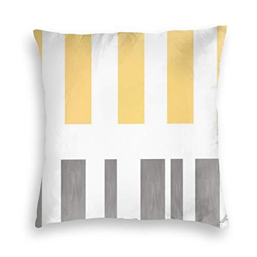 Federa per cuscino in morbido velluto quadrato decorativo moderno chic a righe gialle e grigie, per casa colonica, divano, letto, auto, ufficio, bambini, interni ed esterni, 45,4 x 45,7 cm