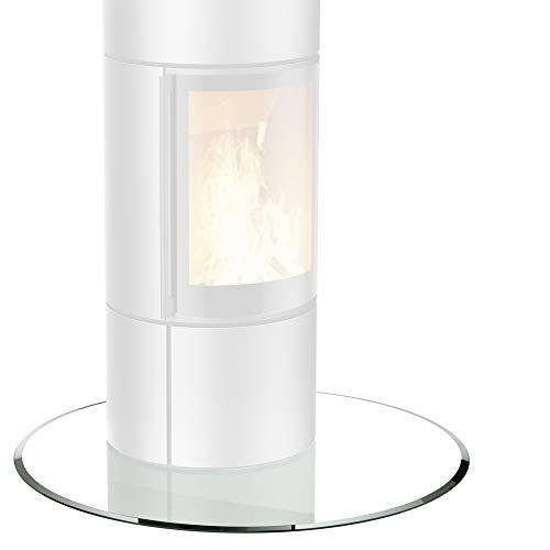 bijon® Glasplatte für Kaminofen Kreis mit Dichtlippe Glasbodenplatte - Funkenschutzplatte Glas | Kamin Hitzeschutz | 80 x 80 cm – 6 mm ESG Kamin-Bodenplatte