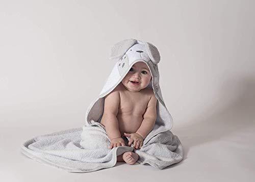 Ti TIN baby badjas met capuchon van 100% katoen | zachte en absorberende babyhanddoek, capuchon met haasoren in grijs, 100x10 cm (badstofstof)
