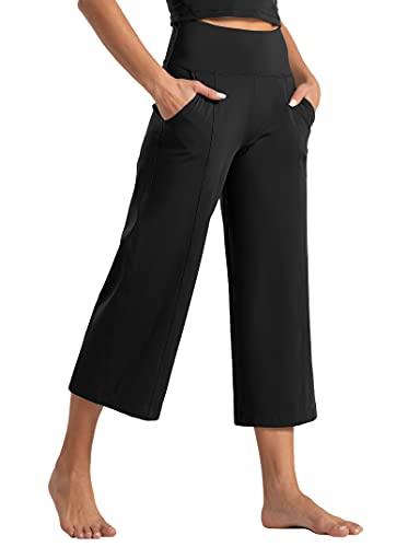 Tmustobe Womens Lounge Yoga Capris Pants Bootleg Tummy Control High Waist Workout Flare Crop Pants with Pockets (Black, Medium)