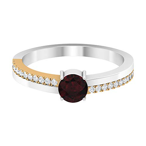 3/4 CT Solitaire Garnet Ring, 1.2 MM HI-SI Diamond Accent, Gold Two Tone Engagement Ring (5 MM Round Shaped Garnet), 14K White Gold, Size:UK X1/2