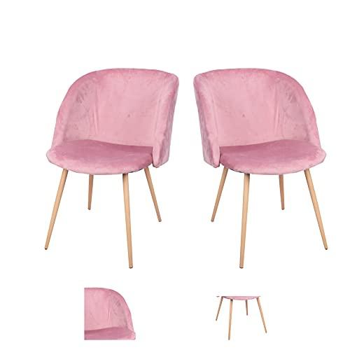 Sillón reclinable, sillón para sala de estar, sillón cama, sillón para dormitorio, silla de pie de metal de terciopelo es adecuado para dormitorio y sala de estar (rosa, 2)
