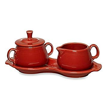 Fiesta Ceramic Sugar and Creamer with Tray in (Scarlet)
