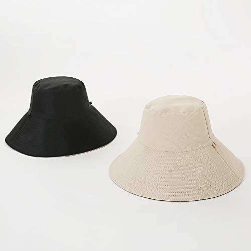 SUNXK La Sra Primavera y el Verano Gorra de Pescador paño del Sombrero del Color sólido de Doble Cara Sombrero for el Sol Sombrero de ala Plegable Grande (Color : M Black, Size : M)