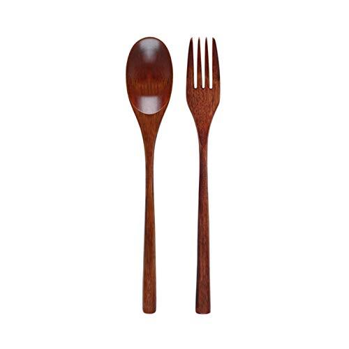 Cocina 2 unids cuchara de madera tenedor cubiertos de cubiertos vajilla mango largo madera sopa cuchara ensalada desierto horquilla vajilla conjunto madera cocina utensilios combinadas cubiertos