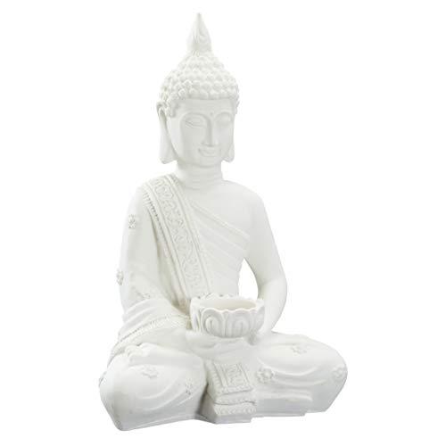 """TFH Deko-Figur """"Thai Buddha Teelichthalter"""" weiß Dekobuddha modern ausgefallen groß Glücksbuddha Thaibuddha Cremeweiß"""