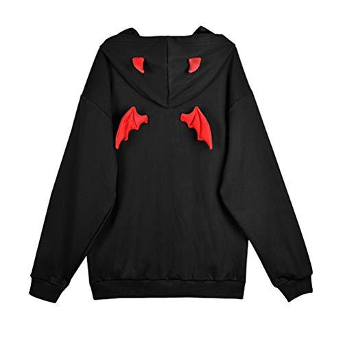 YEMOCILE Damen Kapuzenpullover Beiläufig Rote Teufel Flügel Schwarz Mit Kapuzen Hoodie Pullover Hiphop Streetwear Sweatshirt für Mädchen und Frauen