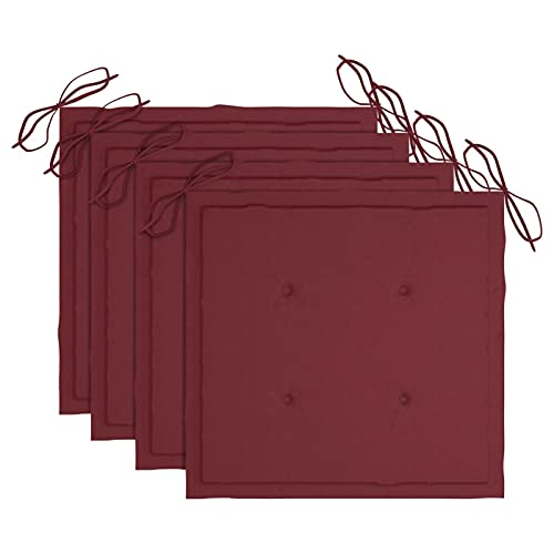 Tidyard Cojines de Silla de jardín 4 uds Tela Rojo Tinto 40x40x4 cm Cojines de Asiento para Sillas de Jardín Cojín de Silla de Comedor