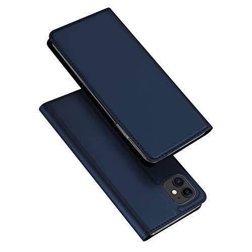 DUX DUCIS Hülle für iPhone 11, Leder Flip Handyhülle Schutzhülle Tasche Case mit [Kartenfach] [Standfunktion] [Magnetverschluss] für Apple iPhone 11 (Blau)