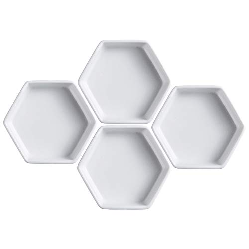 Sizikato 4pcs Geometric Hexagon Ceramic Soy Sauce Dipping Bowls Side Dishes for Snack Sushi Fruit Appetizer Dessert. 5 Inches