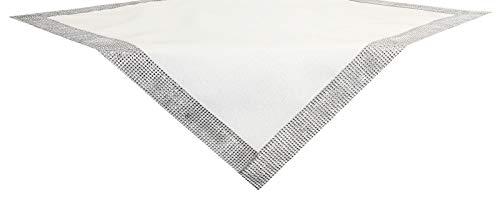 SchönerSchenken Tischdecke Nobility 85 x 85 cm edle Tischdecke mit Glitzereffekten und Strassband Weiß