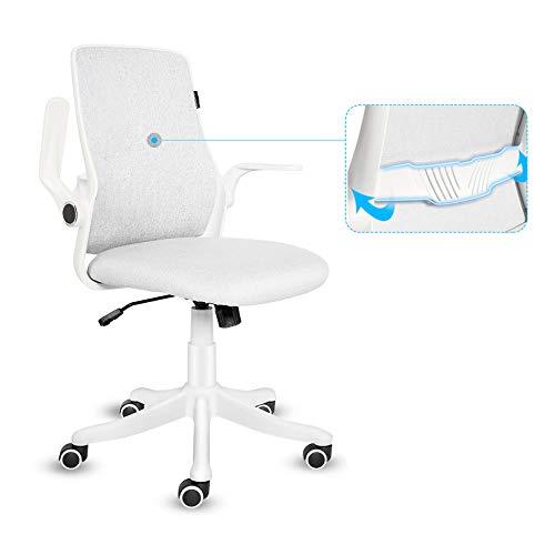 YU YUSING Chaise de Bureau Fauteuil Siège Ergonomique avec Accoudoirs Pliables, Dossier Inclinable, Support Lombaire, Pivotant à 360 °,Hauteur Réglable, Blanc