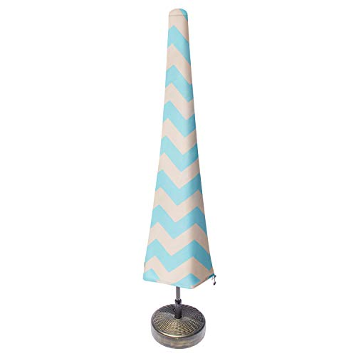 Nest & Nook Patio Umbrella Cover, Umbrella Covers for Outdoor Umbrellas Waterproof 7ft to 11ft - Blue and Creme Chevron Striped, Heavy-Duty and Easy-to-use Outdoor Parasol Covers with Zipper