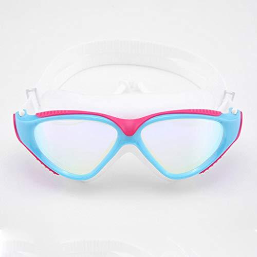 Viner Professionele zwembril Volwassen waterdicht UV-bescherming Anti-mist Verstelbare duikbril Zwembril, roze wit, One size