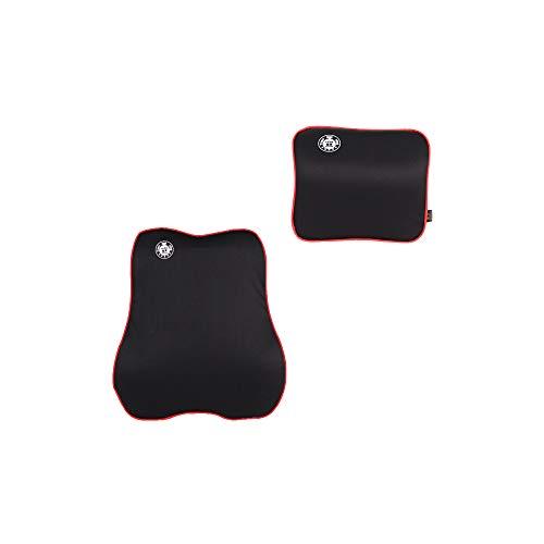 Cojín lumbar de Befitery de espuma viscoelástica para las cuatro estaciones, transpirable, para asiento de coche (negro y rojo)