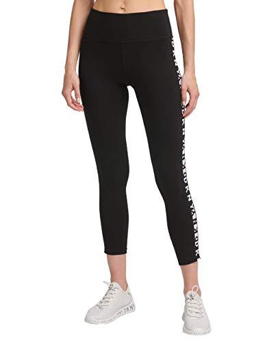 DKNY Women's High Waist Long Line Logo Legging, Black, XS