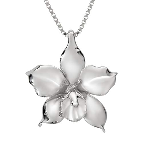 Sterling Silver Orchid Necklace Pendant with 18' Box Chain