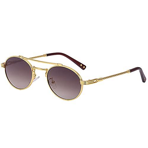 SHEEN KELLY Gafas de sol redondas retro Steampunk Gafas de hippie de John Lennon ovaladas ultraligeras