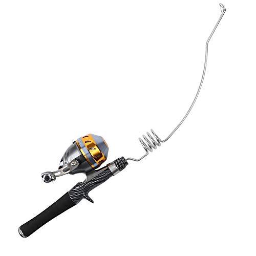 Lovexy Stainless Steel Elastic Fishing Rod Set, EVA Gun Handle Fishing Rod Closed Spincast Reel Set Sea Rod Ice Fishing Rod(PQ-8C-B)
