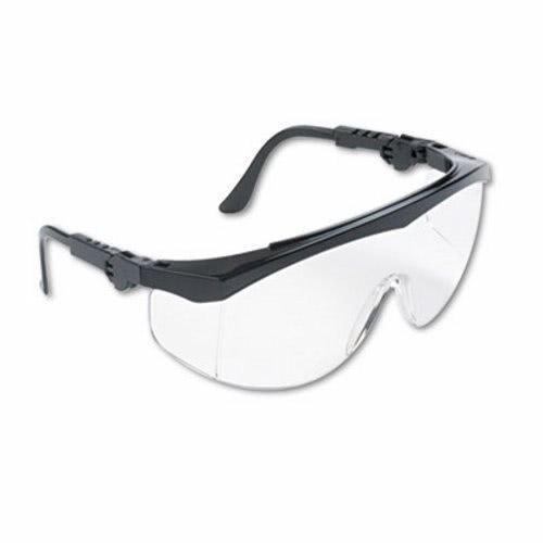 Crews TK110 Tomahawk Wraparound Safety Glasses, Black Nylon Frame, Clear Lens, 12/Box