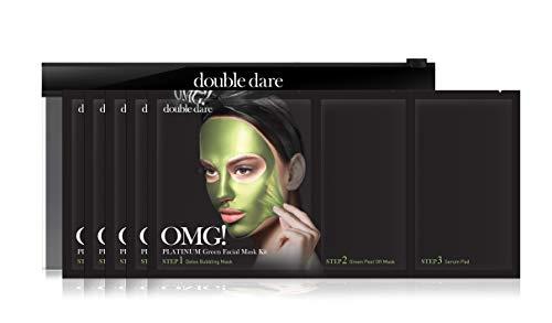 OMG! PLATINUM Collection Green   Intensive 3stufige Gesichtskur und Beautyanwendung gegen Mitesser, unreine Haut und verstopfte Poren   Mit Algen-, Apfel- und Lavendel-extrakt (2x + OMG! Pinsel)