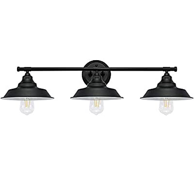 Longwind 3 Lights Wall Light Fixture, Vanity Industrial Mate Black Bathroom Wall Sconce
