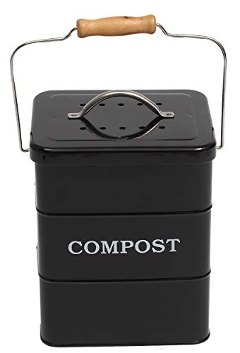 ayacatz Stainless Steel Compost Bin for Kitchen Countertop Compost Bin,1 Gallon, Kitchen Trash Can -Includes Charcoal Filter,Compost Bucket Kitchen Pail Compost with Lid-Black
