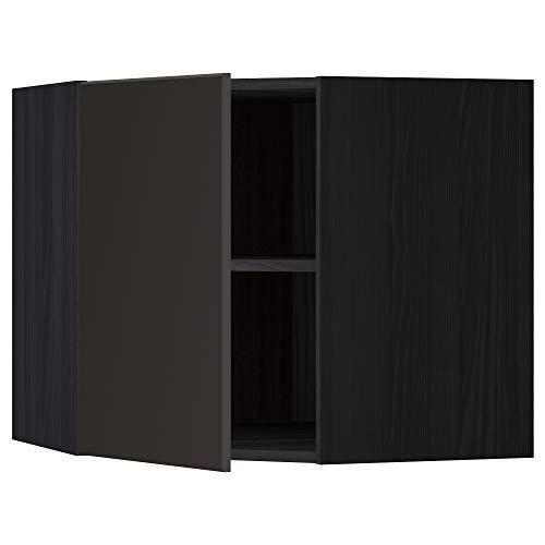 METOD hörnväggskåp med hyllor 67,5 x 67,5 x 60 cm svart/Kungsbacka antracit