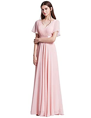 Ever-Pretty Womens Floor Length Long Chiffon Bridesmaids Dress 20 US Pink
