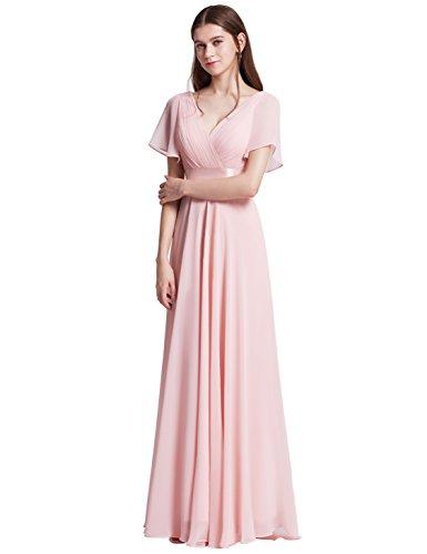 Ever-Pretty Damen Abendkleid Frau A-Linie Ballkleid V Ausschnitt Hochzeit Rosa 36