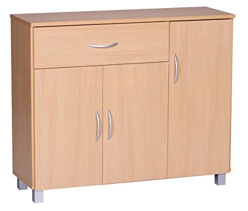 FineBuy Design Sideboard Jerry 90 x 75 x 30 cm Buche | Schränkchen mit 1 Schublade 3 Türen | Moderne Schlafzimmer Kommode | Anrichte Esszimmer | Schmaler Schuhschrank mit Schublade
