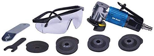 SW-Stahl S3294 set, 20.000 omw/min, 9 slijpschijven ø 50 mm, 5 doorslijpschijven ø 50 mm en veiligheidsbril perslucht-haakse slijper, blauw/zwart