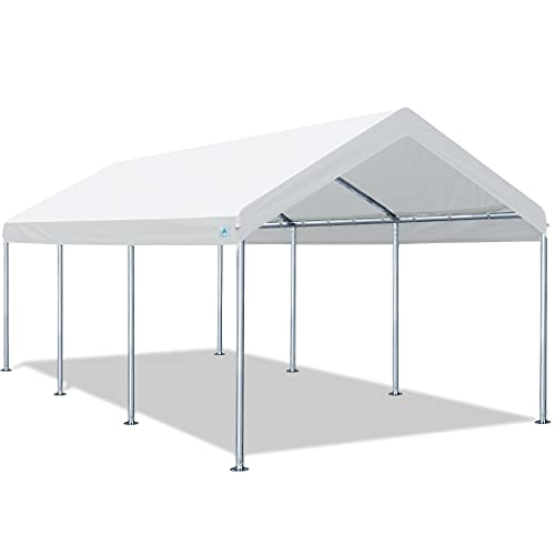 ADVANCE OUTDOOR Adjustable 10x20 ft Heavy Duty Carport Car Canopy Garage Boat Shelter Party Tent, Adjustable Height from 9.0ft to 10.5ft, White