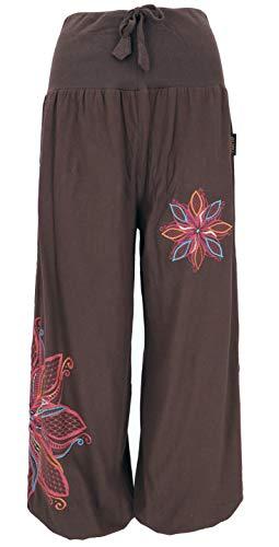 Guru-Shop, Pantaloni Larghi da Harem con Cintura Larga e Ricamo Floreale, Marrone Scuro, Dimensione Indumenti: (42), Harem Pantaloni Aladdin Pantaloni Aladdin