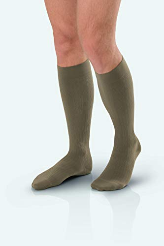 JOBST forMen Ambition Knee High 30-40 mmHg Ribbed Dress Compression Socks, Closed Toe, 5 Long, Khaki