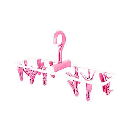 XiuHUa Wasrek-ophangclip, aan de muur monteerbaar, opvouwbaar 12-clip-ophangsysteem, winddicht opbergrek, babykleding, ondergoed, handdoek, sokken wasrek