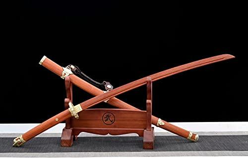 Espadas Samurai de Caoba Natural,104 cm Bokken Hecho a Mano con Equipo de Cobre Puro y Vaina de Madera Maciza,Katana de Madera para Kendo Iaido Collect Home Decor