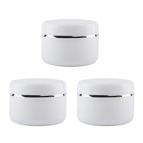 QUUPY 3 piezas de cristal blanco vacío con forro interior y botella de borde plateado con bolsa de viaje para crema de loción (250 ml), blanco (Blanco) - UYQ33030