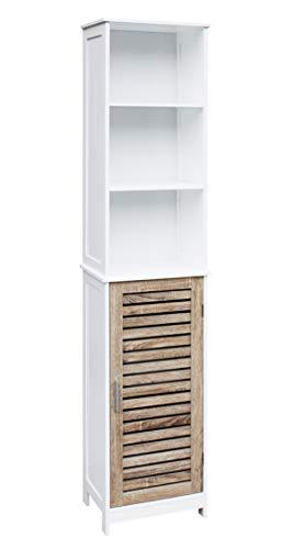 Mueble para Baño Tipo Columna 5 Estantes con Puerta y Baldas Multifuncional de Madera DM, Color Blanco y Roble (173x34,5x26cm) (50803)