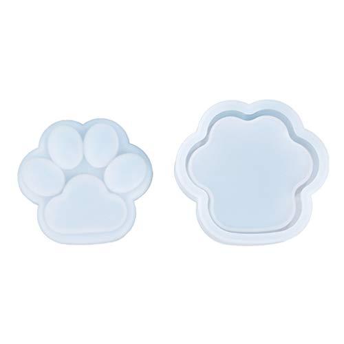 YUZI 1 Juego de caja de almacenamiento de pata de gato, molde de resina epoxi de cristal, caja de contenedor de joyería hecha a mano, molde de silicona, herramienta de fundición para manualidades