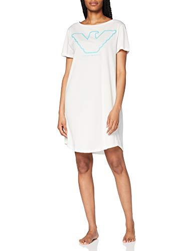 Emporio Armani Underwear Damen Visibility-Pure Organic Cotton Night Dress Nachthemd, Weiß (Bianco 00110), 34 (Herstellergröße:XS)