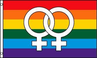 Afrizona Double Venus Large Rainbow Flag Gay Pride Lesbian LGBT 3x5 Polyester