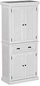 "Made of hardwood solids and engineered wood in a sanded and distressed white finish providing an aged worn look Features storage drawer, two cabinet doors each containing two adjustable shelves Antiqued brushed nickel hardware Dimensions: Size: 30"" W..."
