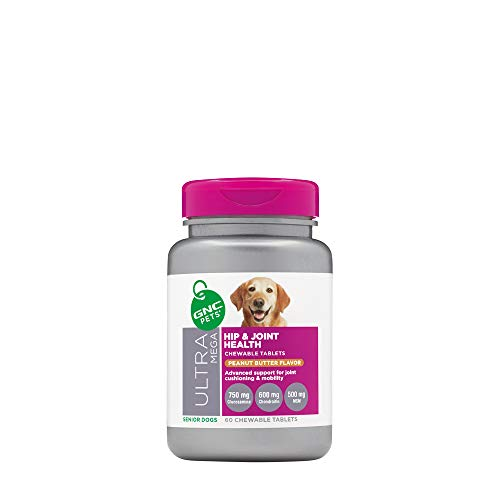 GNC Pets Ultra Mega Hip and Joint Health Peanut Butter Flavor 60 Chewable Tablets for Senior Dog, 60 g