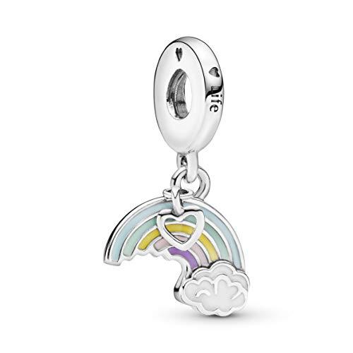 Pandora Damen Moments Regenbogen & Wolke Charm-Anhänger Sterling Silber Emaille 797016ENMX