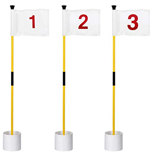 KINGTOP Miniature Golf Flagstick, Practice Putting Green Flags for Yard, Golf Pin Flag Hole Cup Set, Portable 2-Section Design, 3ft Flagpole, Indoor   Outdoor, White Flag Numbered #1 2 3, 3-Pack