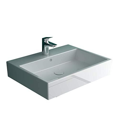 Duravit Vero Air Waschtisch 60 x 47 cm aus Sanitärkeramik in weiß mit 1 Hahnloch und Überalauf | Auch als Aufsatzwaschbecken verwendbar | Wandwaschtisch mit Befestigungsset für Wandmontage