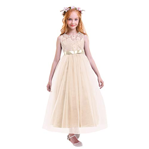OBEEII Vestido Elegante de Niña Vestidos Floral Largos de Encaje Ropa Verano Disfraz de Princesa para Boda Madrina Fiesta Ceremonia Cumpleaños Comunión Carnaval Baile Noche Prom 4-14 años