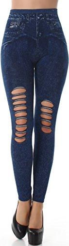 SL1 Leggings vaqueros de cintura alta para mujer, estilo desgastado, elásticos, 34/36/38 (5) Dunkelblau Talla única