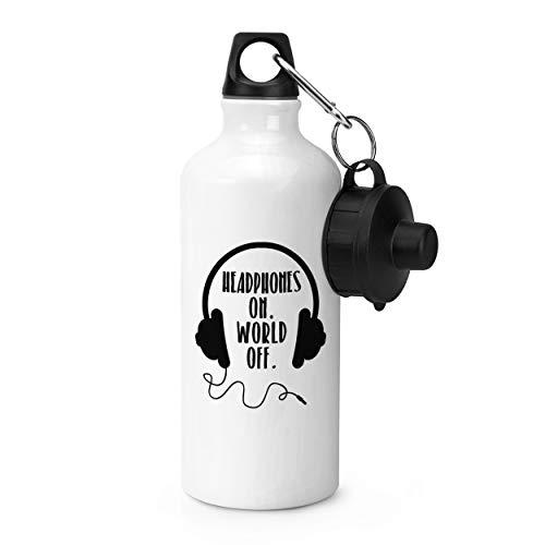 Gift Base Kopfhörer auf Welt aus Sports Flasche Wasser Fitness 600ml Weiß